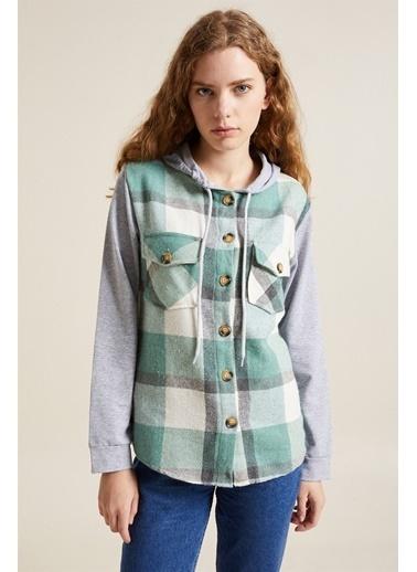 Z Giyim Kapüşonlu Sweat Kollu Oduncu Gömlek Yeşil